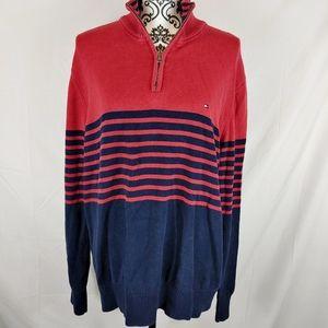 Tommy Hilfiger mens red quarter zip pullover sz xl